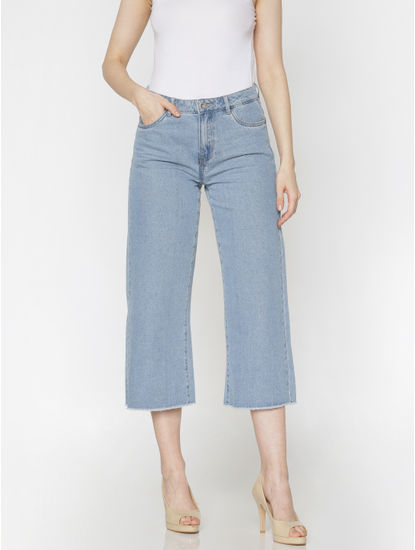 Blue High Rise Raw Edge Wide Leg Comfort Fit Jeans