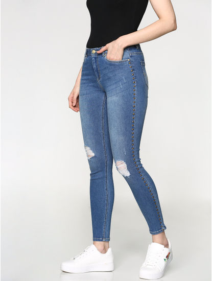 Blue Mid Rise Stud Detail Ripped Skinny Fit Jeans