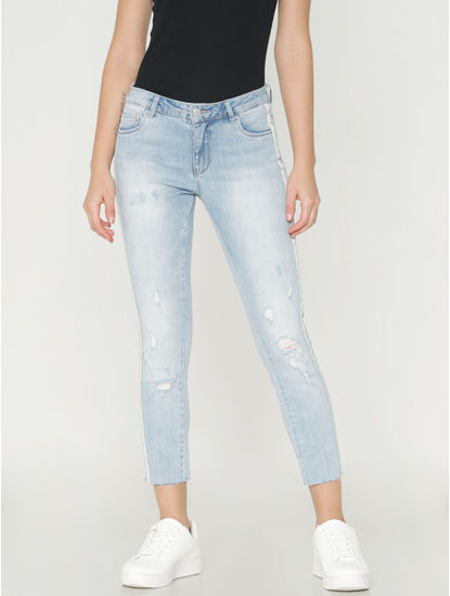 Light Blue Mid Rise Distressed Side Tape Skinny Fit Jeans