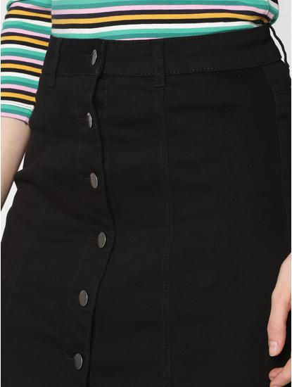 Black Low Rise Denim Skirt