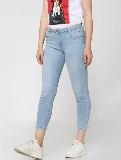 Light Blue Low Rise Washed Ankle Length Skinny Fit Jeans