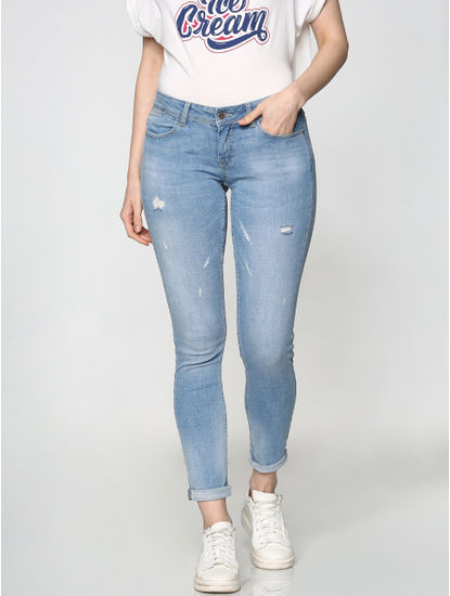 Blue Low Rise Distressed Skinny Fit Jeans