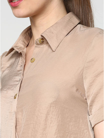 Beige Wrap Shirt
