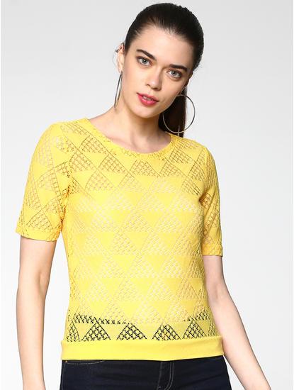 Yellow Geometric Cut Work Top