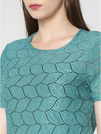 Turquoise Cut Work Top