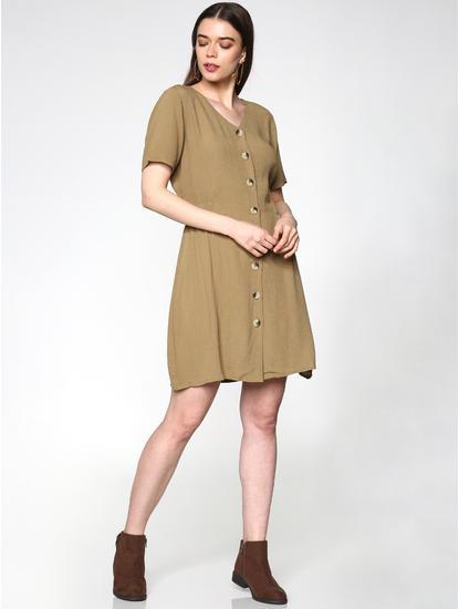 Brown Textured Mini Dress