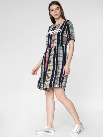 Green Multicoloured Checks Mini Fit & Flare Dress