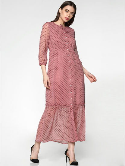 Pink All Over Printed Tie Up Neck Sheer Maxi Dress