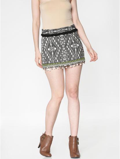 Black Mid Rise Abstract Print Slim Fit Mini Skirt