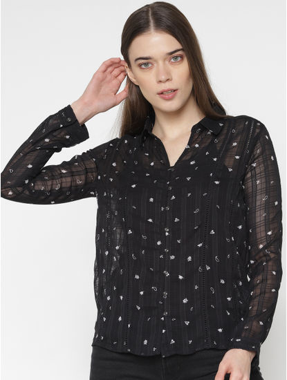 Black All Over Floral and Check Print Sheer Shirt