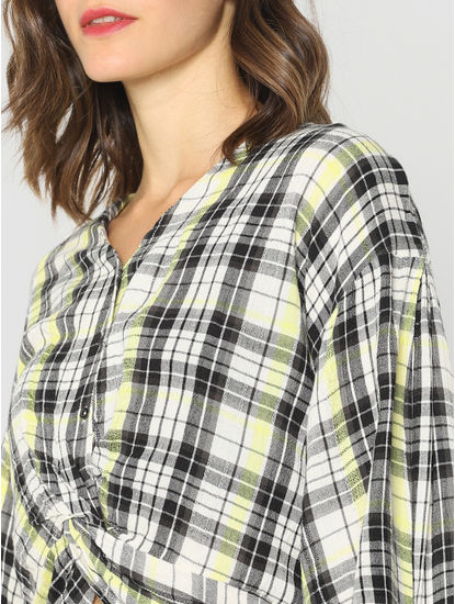White Check Knot Detail Cropped Shirt