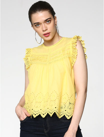 Yellow Cut Work Embroidery Frill Sleeves Top