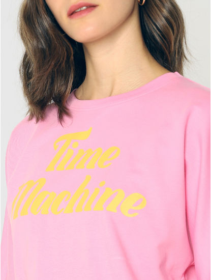 Pink Text Print Cropped Pullover