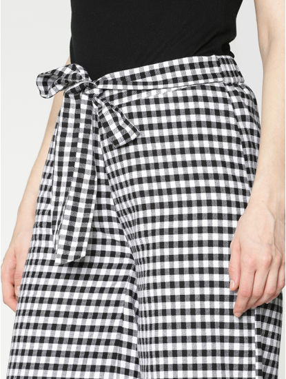 White and Black Mid Rise Check Lace Hem Pants