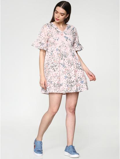 Pink Cut Work Floral Print Mini Dress