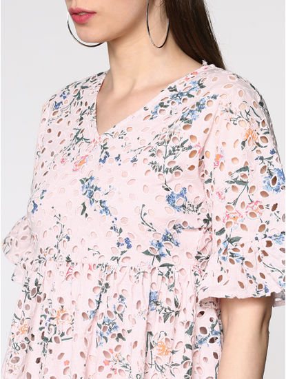 Pink Cut Work Floral Print Mini Dress