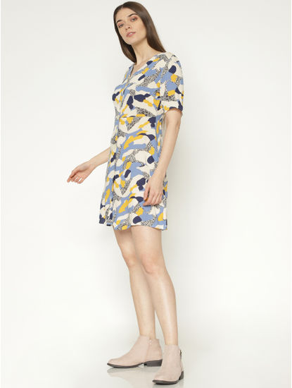 Off-White All Over Multicoloured Abstract Print Slim Fit Mini Dress
