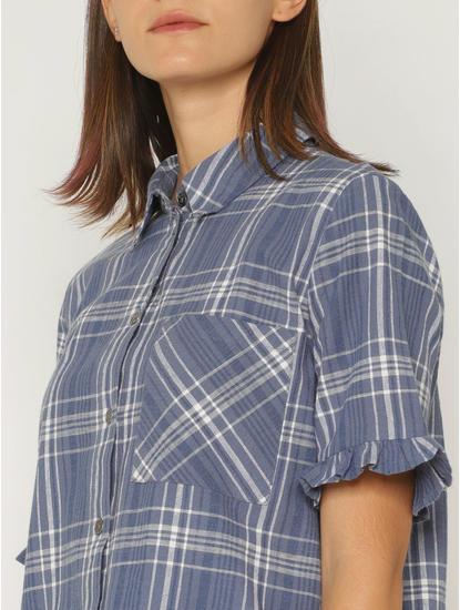 Blue Check Cropped Shirt