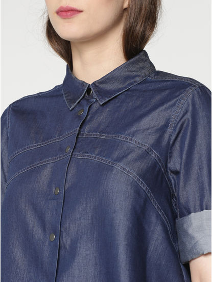 Blue Cropped Denim Shirt