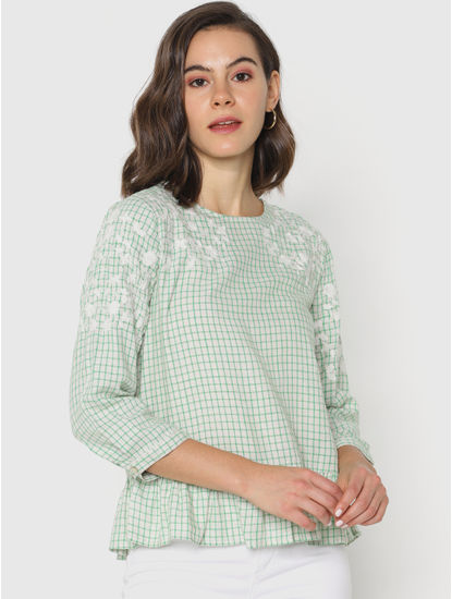Green Check Embroidered Top