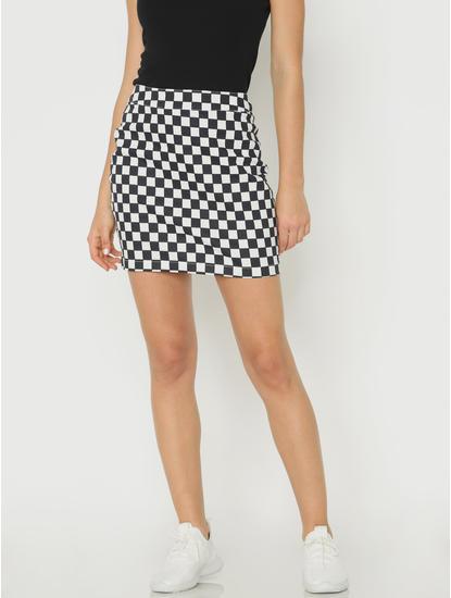 X Simpsons White Check Mini Skirt