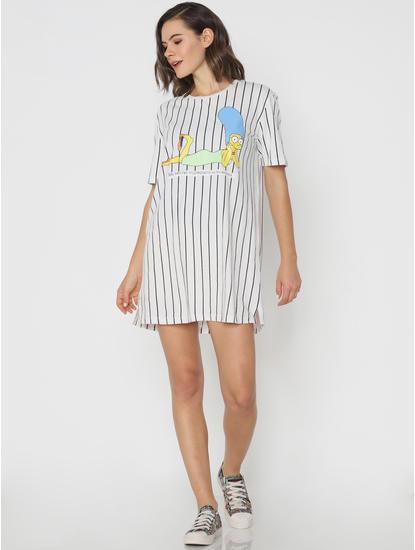 X Simpsons White Striped Graphic Print T-shirt Dress
