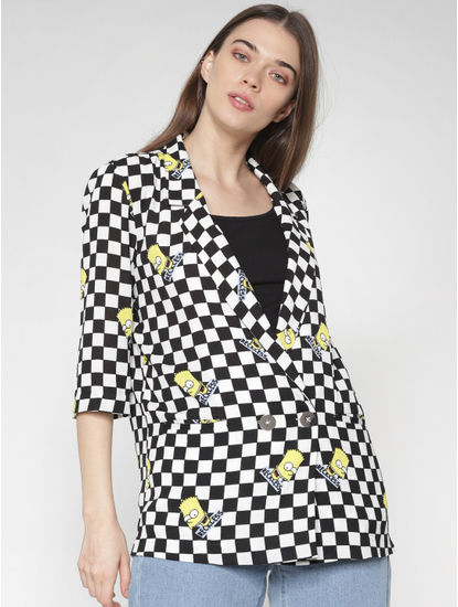 X Simpsons Black Check Graphic Print Blazer