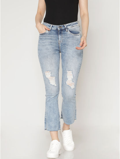 Blue Mid Rise Ripped Washed Flared Hem Ankle Length Slim Fit Jeans