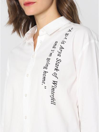 X Got White Text Print Shirt