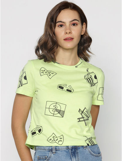 ft Ananya Panday Green Graphic Print T-shirt