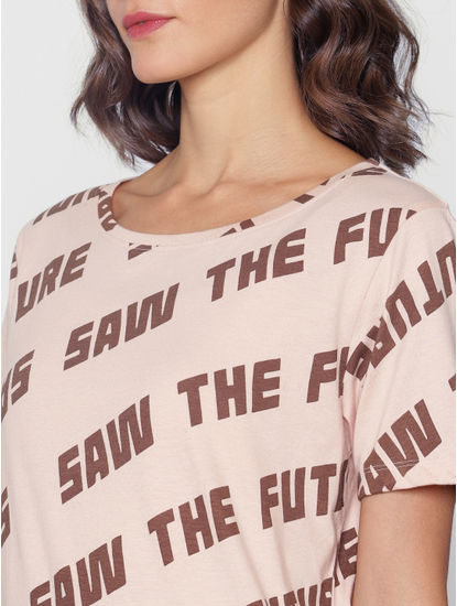 Ft Ananya Panday Rose Text Print T-Shirt