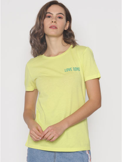 ft Ananya Panday Green Text Print T-shirt