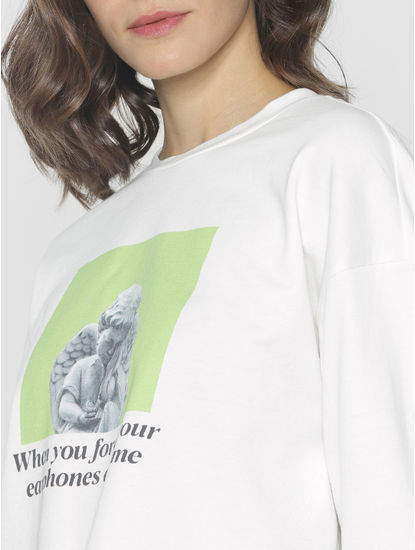 Ft Ananya Panday White Graphic Print Sweatshirt