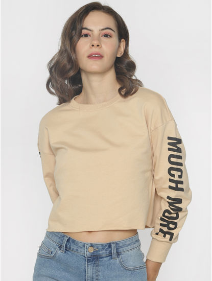 ft Ananya Panday Beige Cropped Sweatshirt
