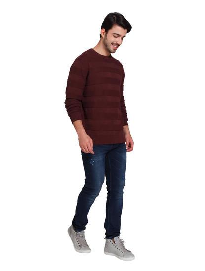 Burgundy Striped Sweatshirt