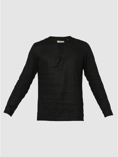 Black Slim Fit Henley Neck T-Shirt