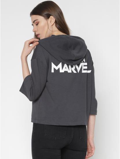 X Marvel Grey Captain Marvel Graphic Print Hooded Sweatshirt