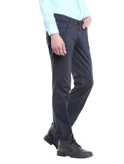 Solid Grey Color Cotton Slim Fit Jeans