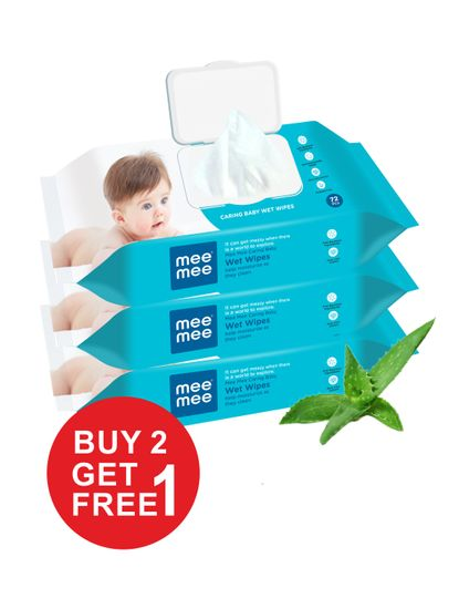 Mee Mee Caring Baby Wet Wipes with lid, 72 Pcs (Buy 2 Get 1 Free)