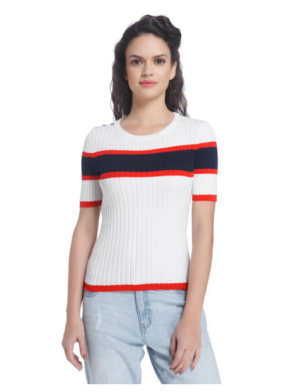 White Striped Knit Pullover