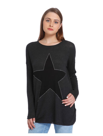 Dark Grey Star Print Pullover