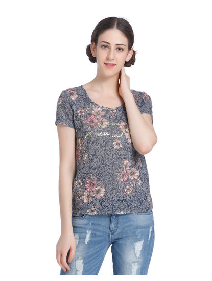 Grey Floral Print Slogan Top