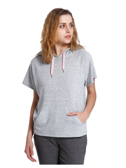 Light Grey Hoodie Top