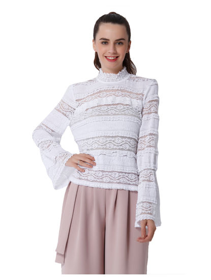 White Flared Sleeves Lace Top