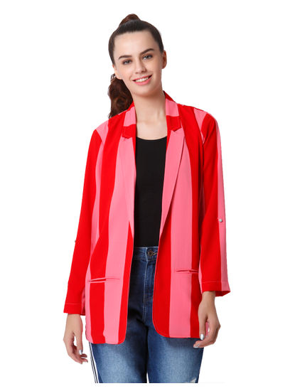 Pink & Red Striped Long Blazer