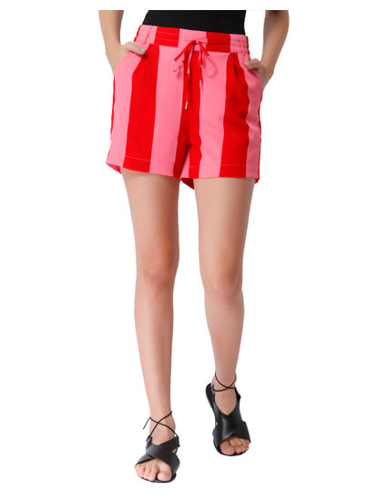 Pink & Red Striped Shorts