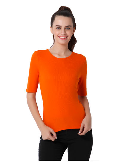 Orange Ribbed T-Shirt