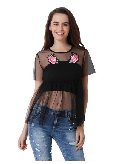 Black Rose Print Mesh Top