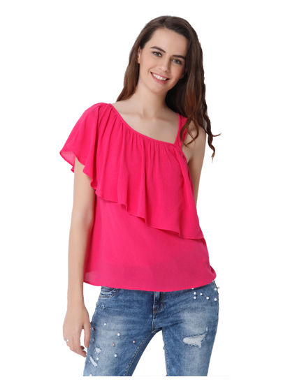 Pink One Shoulder Frill Detail Top