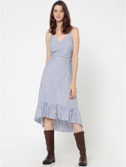 White & Blue Striped Tie Up Back Midi Dress